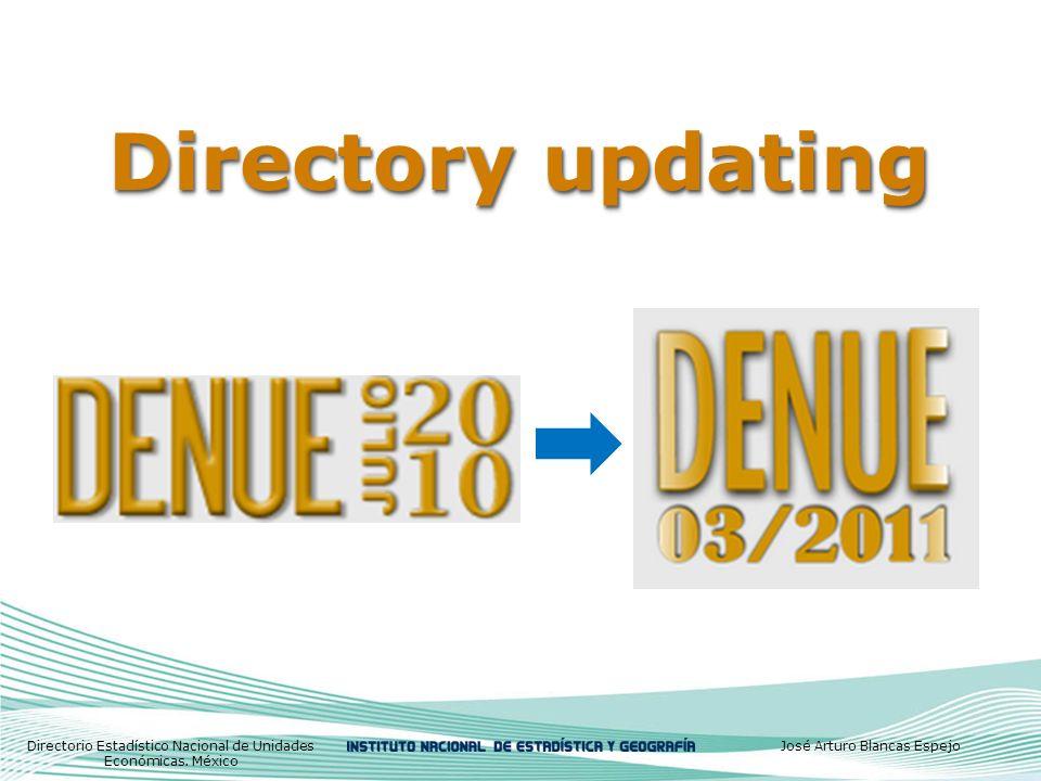 Directory updating Directorio Estadístico Nacional de Unidades Económicas.