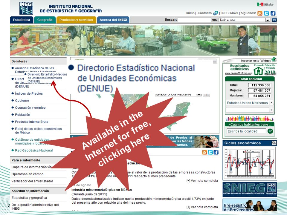 DENUE allows dimensioning the geographic distribution of the economic activity, geo-referring each economic unit registered in this directory.