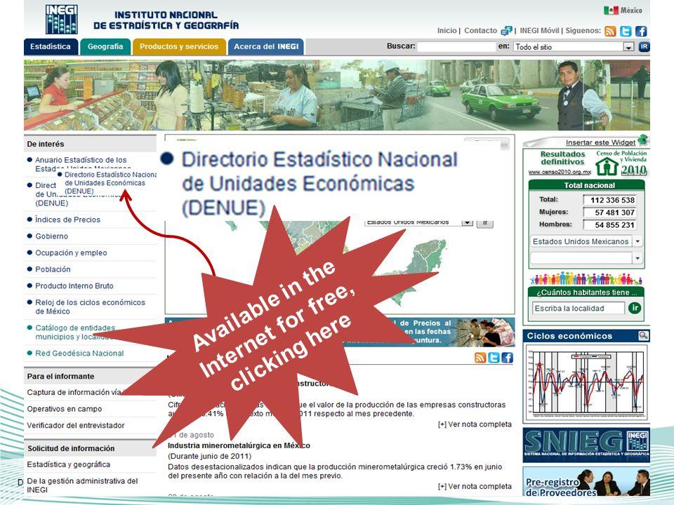 Or obtain the list of establishments from a manually defined area, and see them in the map Directorio Estadístico Nacional de Unidades Económicas.