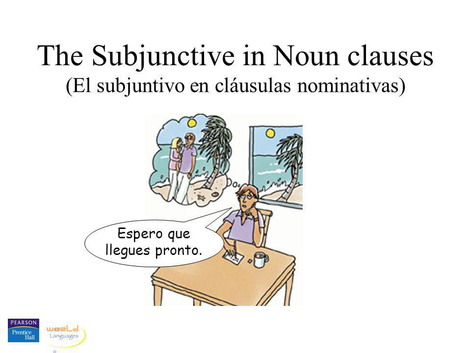 The Subjunctive in Noun clauses (El subjuntivo en cláusulas nominativas) Espero que llegues pronto.