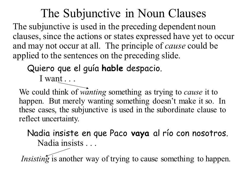 The Subjunctive in Noun Clauses The English equivalents of the Spanish subjunctive are often different in structure, since the use of the English subjunctive has diminished.
