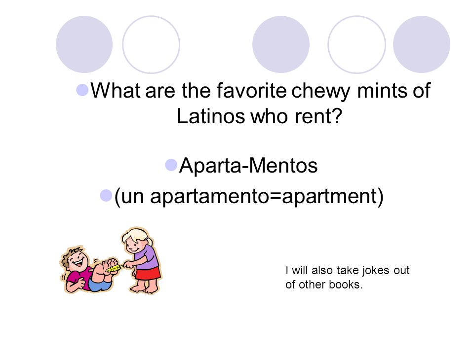 Aparta-Mentos (un apartamento=apartment) What are the favorite chewy mints of Latinos who rent.