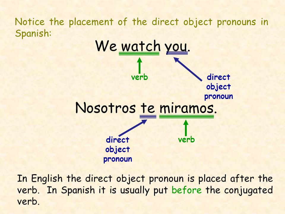 Notice the placement of the direct object pronouns in Spanish: We watch you. direct object pronoun Nosotros te miramos. direct object pronoun verb In