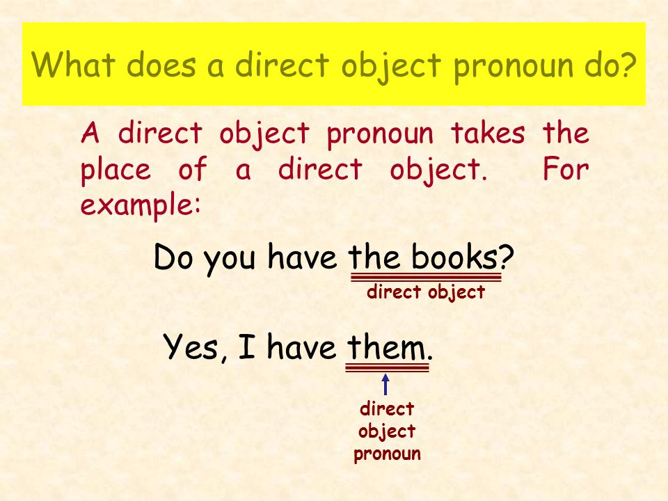 Say the following sentence replacing the direct object with the direct object pronoun.