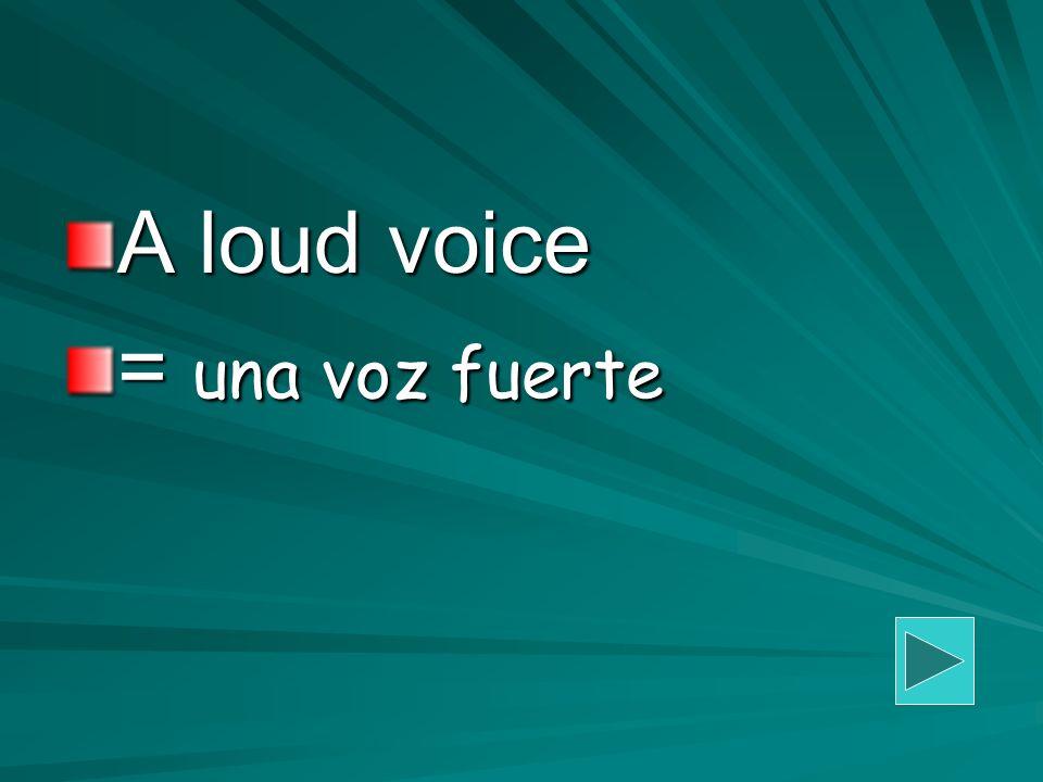 A loud voice = una voz fuerte