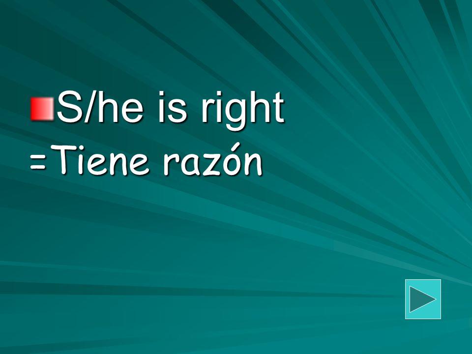 S/he is right =Tiene razón