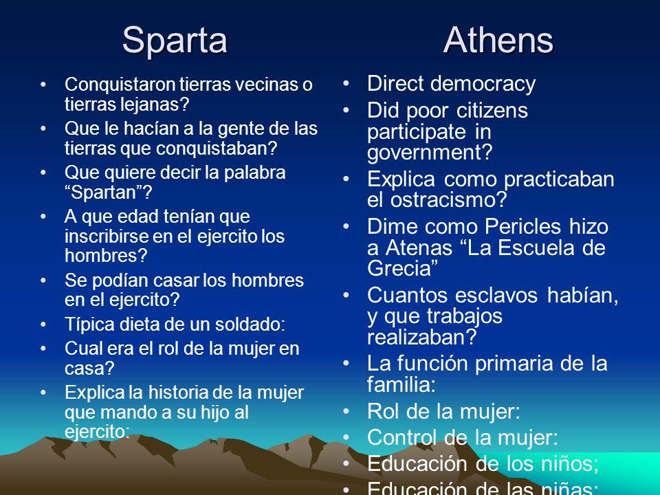 Sparta Athens Sparta Athens Conquistaron tierras vecinas o tierras lejanas? Que le hacían a la gente de las tierras que conquistaban? Que quiere decir