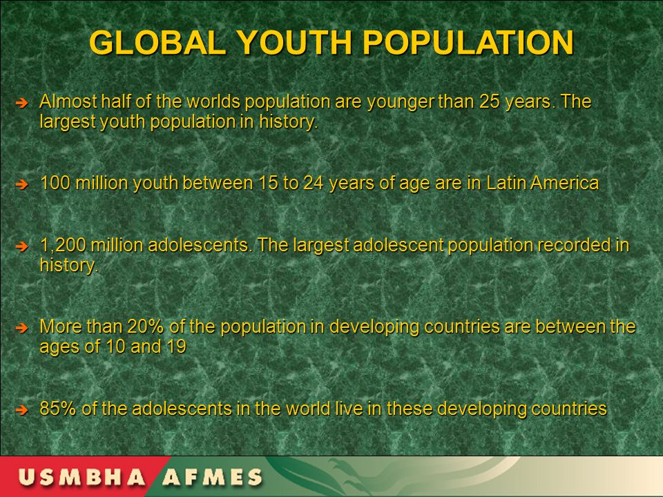 GLOBAL YOUTH POPULATION Almost half of the worlds population are younger than 25 years. The largest youth population in history. Almost half of the wo