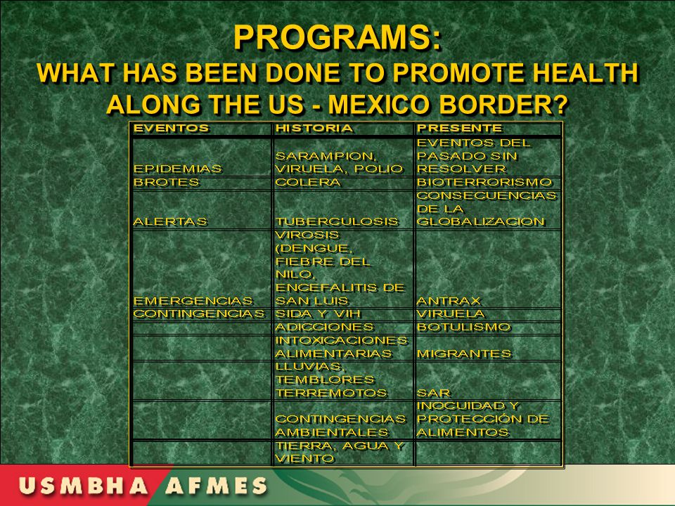 PROGRAMS: WHAT HAS BEEN DONE TO PROMOTE HEALTH ALONG THE US - MEXICO BORDER?