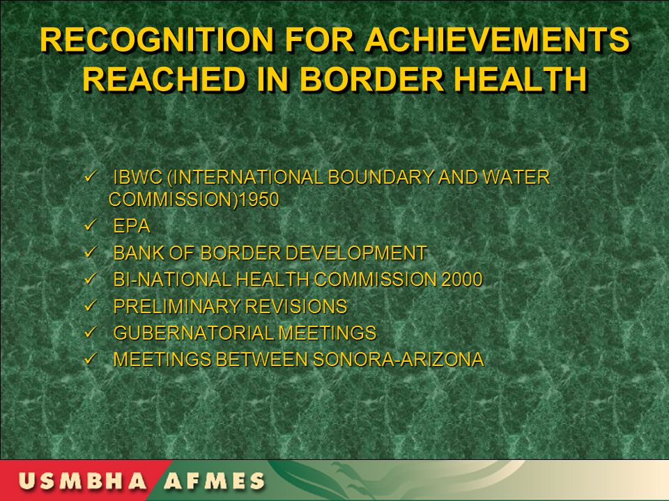 RECOGNITION FOR ACHIEVEMENTS REACHED IN BORDER HEALTH IBWC (INTERNATIONAL BOUNDARY AND WATER COMMISSION)1950 IBWC (INTERNATIONAL BOUNDARY AND WATER CO