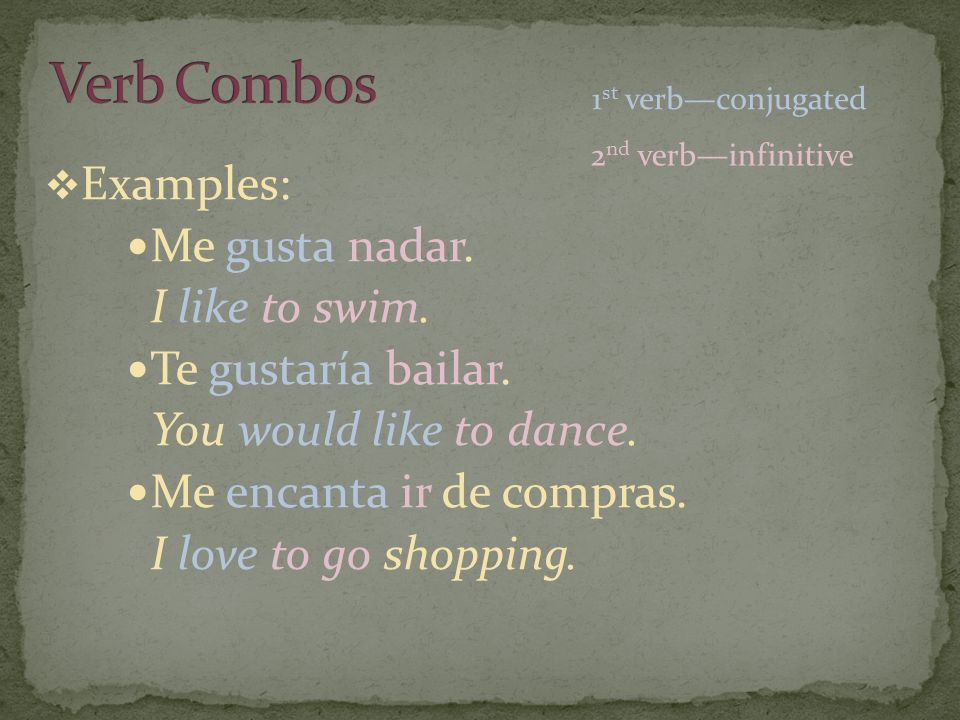 Examples: Me gusta nadar. I like to swim. Te gustaría bailar. You would like to dance. Me encanta ir de compras. I love to go shopping. 1 st verbconju
