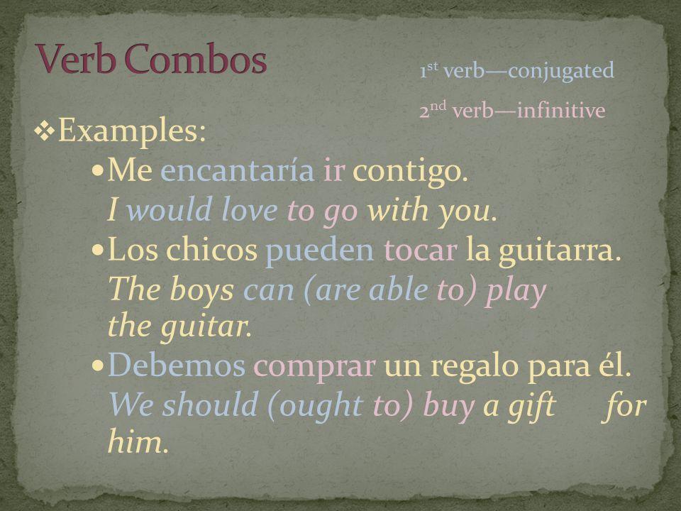 Examples: Me encantaría ir contigo. I would love to go with you.