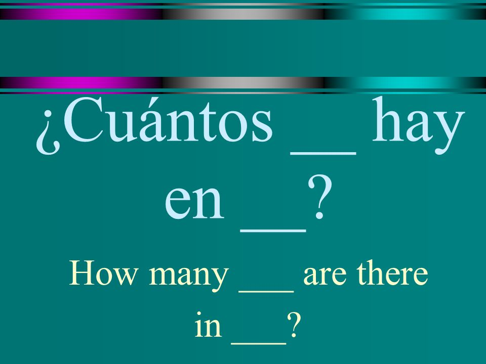 ¿Cuántos __ hay en __? How many ___ are there in ___?