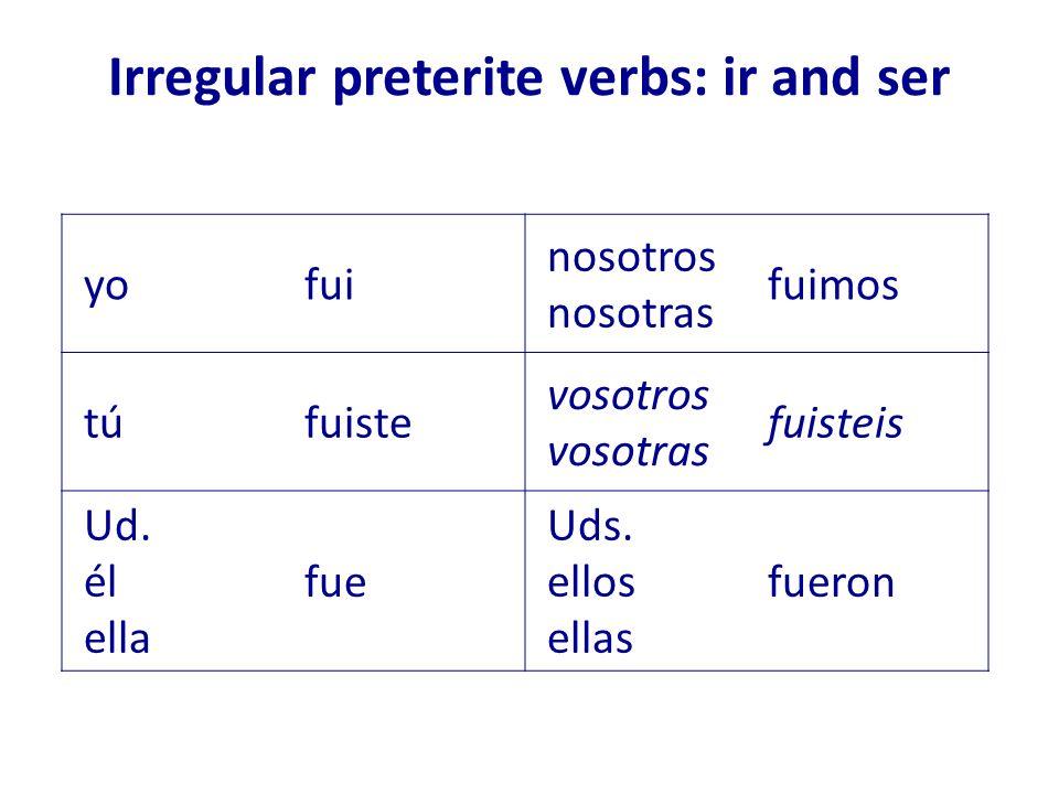 Irregular preterite verbs: ir and ser yofui nosotros nosotras fuimos túfuiste vosotros vosotras fuisteis Ud. él ella fue Uds. ellos ellas fueron