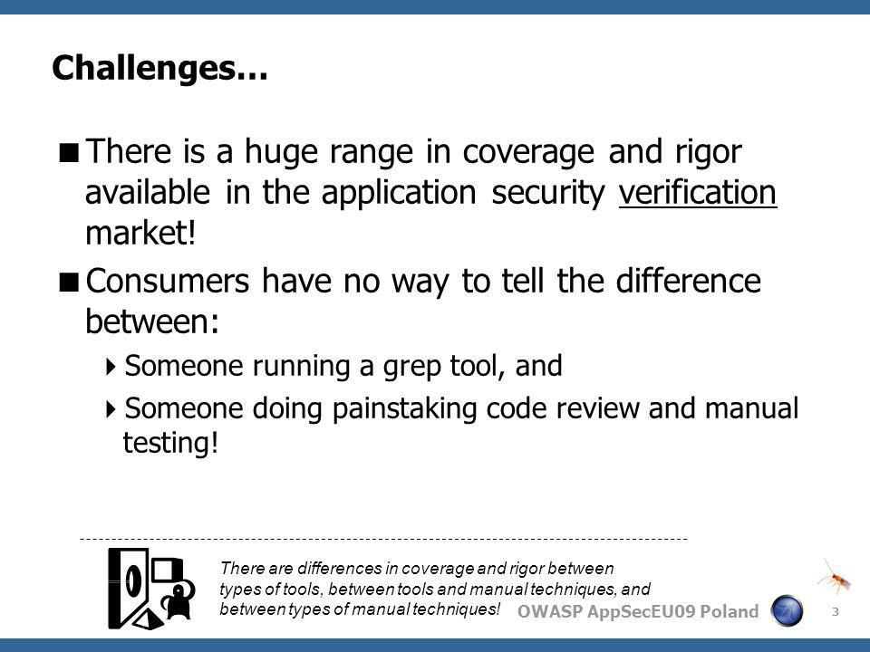 OWASP AppSecEU09 Poland Challenges… There is a huge range in coverage and rigor available in the application security verification market! Consumers h