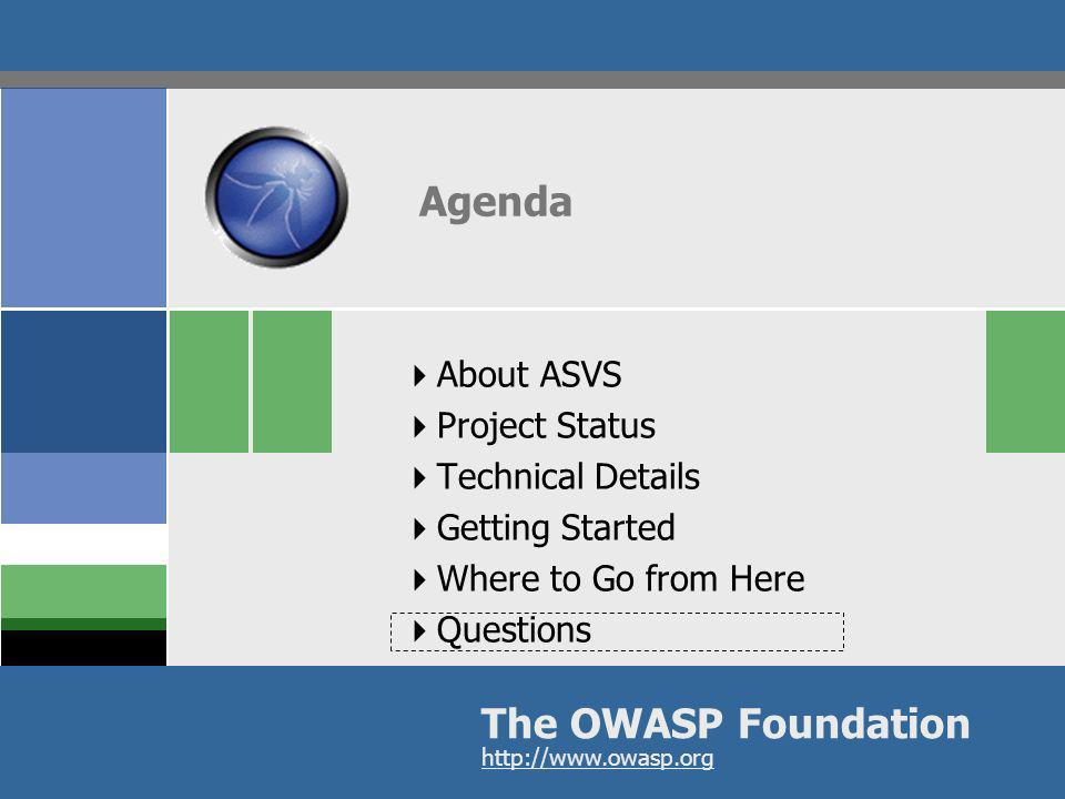 OWASP AppSecEU09 Poland 31 Agenda The OWASP Foundation http://www.owasp.org About ASVS Project Status Technical Details Getting Started Where to Go fr