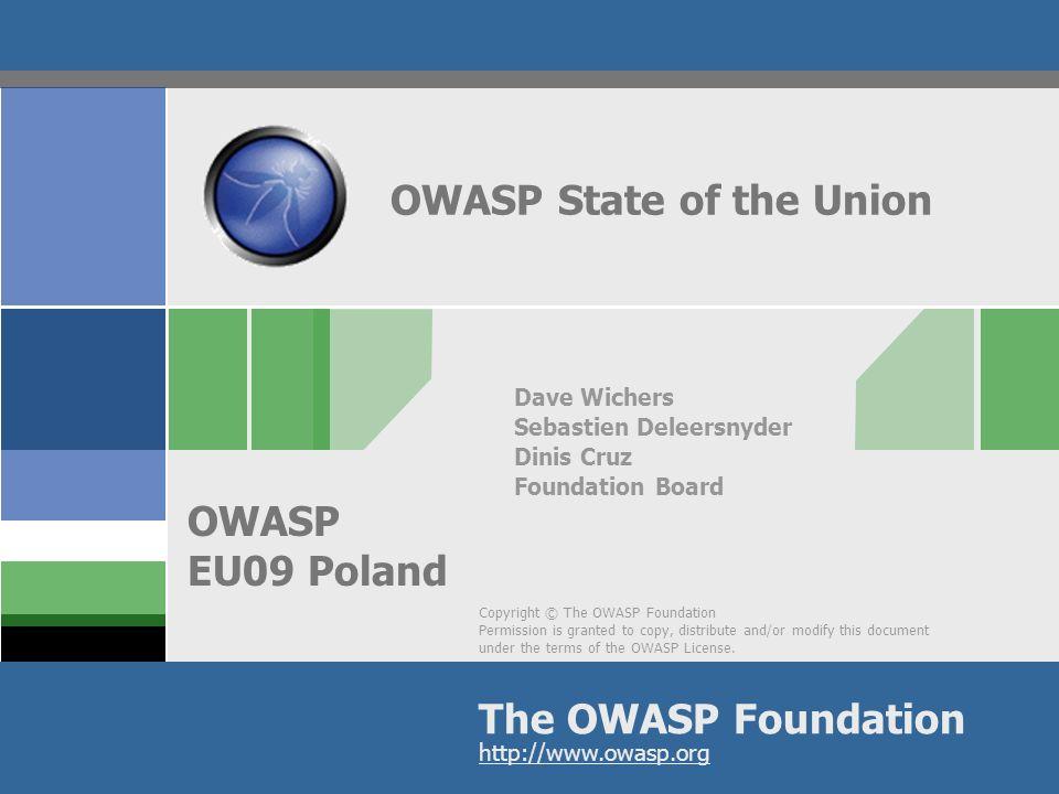 OWASP AppSecEU09 Poland Agenda OWASP ? State of the union Season of Code 2009 OWASP near you ! 2