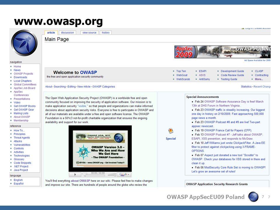 OWASP AppSecEU09 Poland Agenda OWASP ? State of the union Season of Code 2009 OWASP near you ! 28