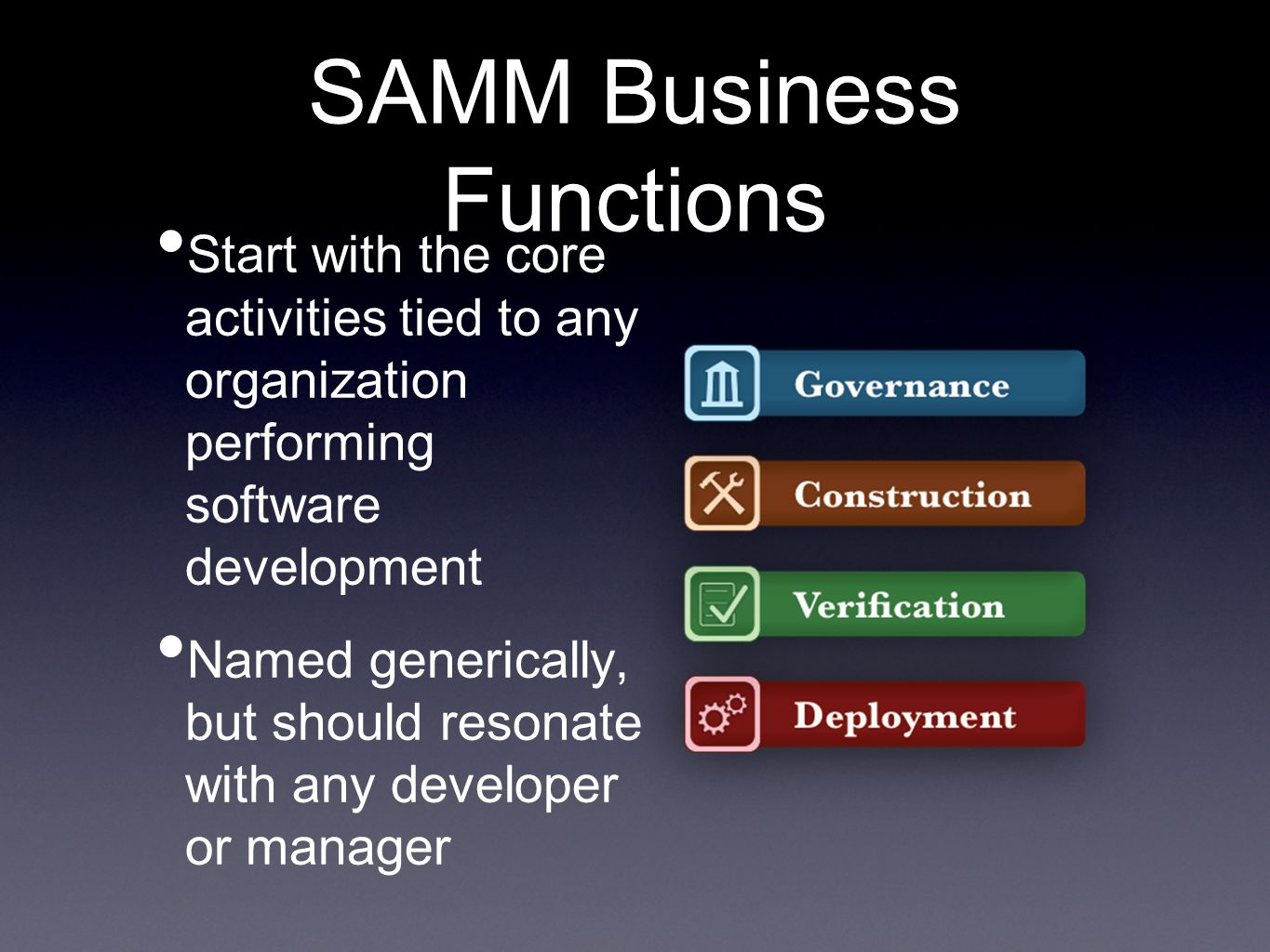 SAMM Business Functions Start with the core activities tied to any organization performing software development Named generically, but should resonate