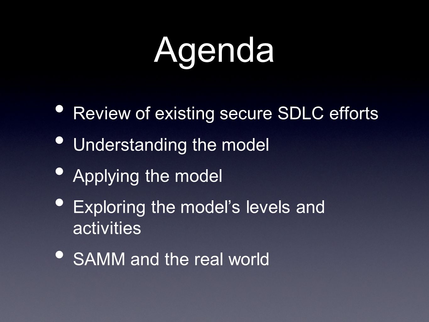 SAMM Security Practices From each of the Business Functions, 3 Security Practices are defined The Security Practices cover all areas relevant to software security assurance Each one is a silo for improvement