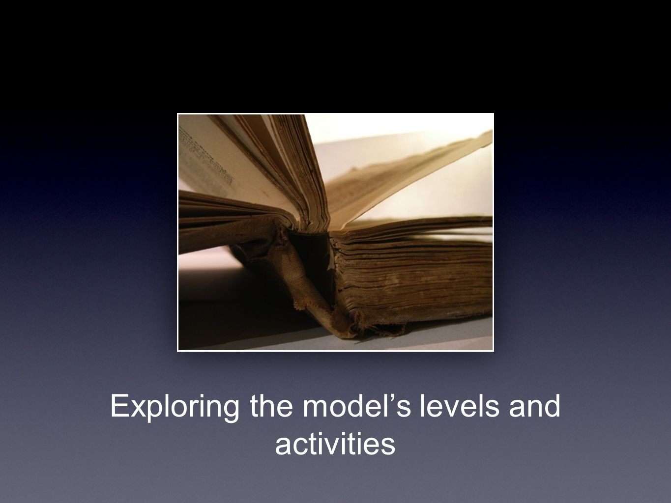 Exploring the models levels and activities