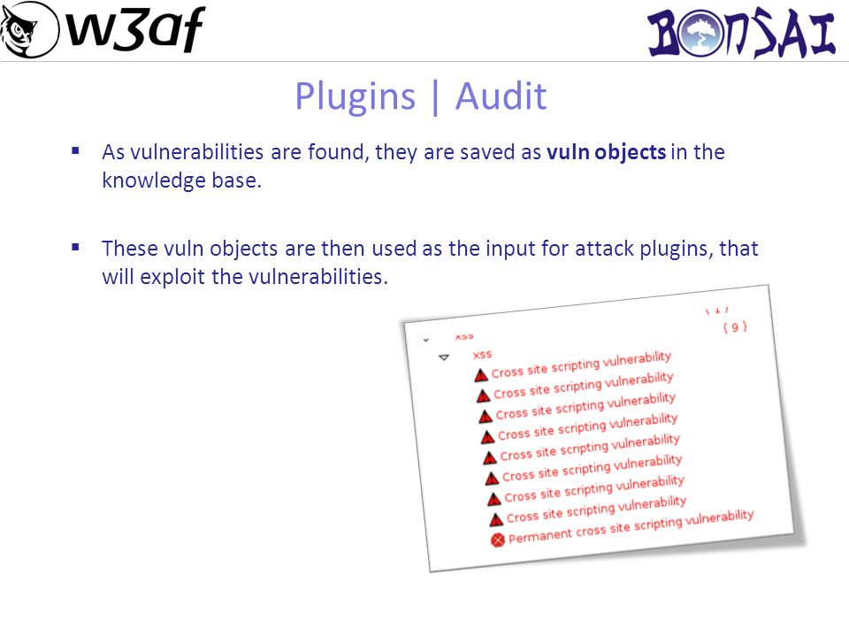 14 Plugins | Audit As vulnerabilities are found, they are saved as vuln objects in the knowledge base.