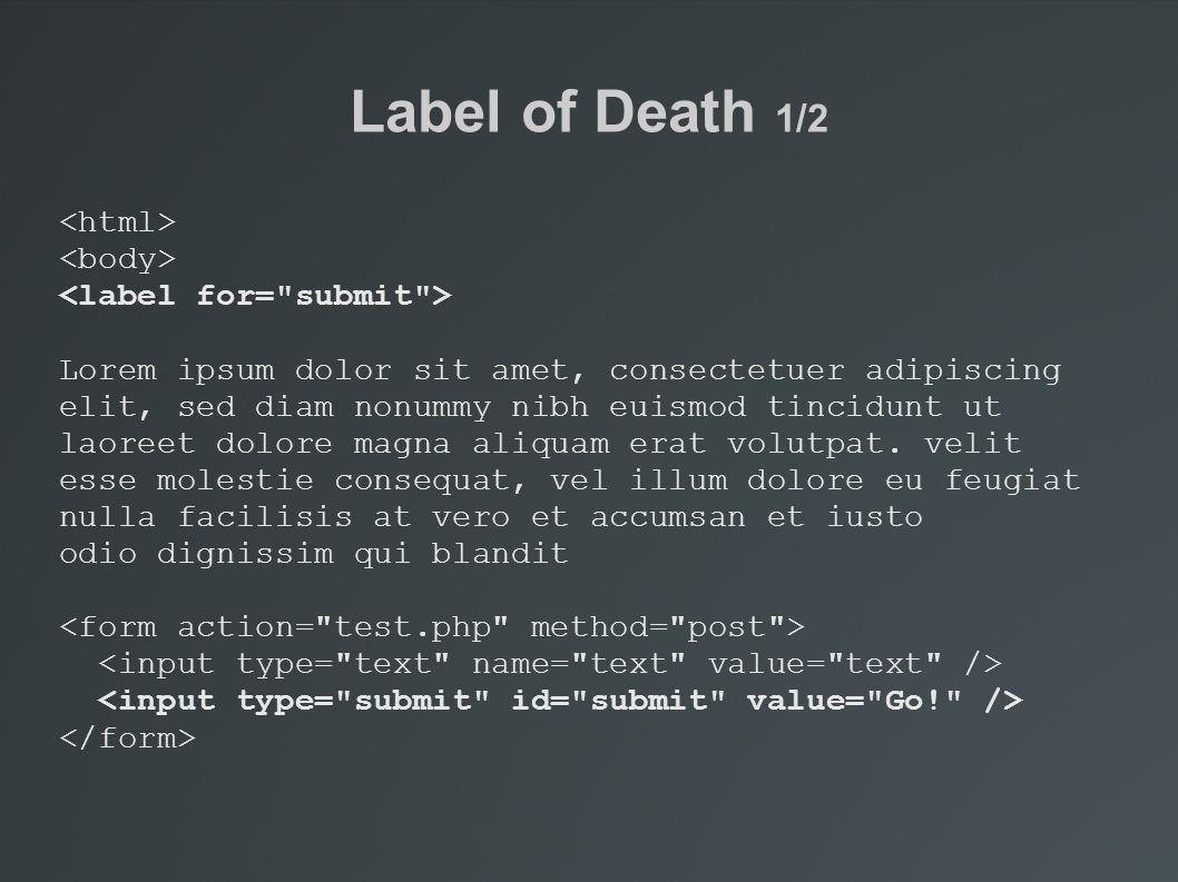 Label of Death 1/2 Lorem ipsum dolor sit amet, consectetuer adipiscing elit, sed diam nonummy nibh euismod tincidunt ut laoreet dolore magna aliquam erat volutpat.
