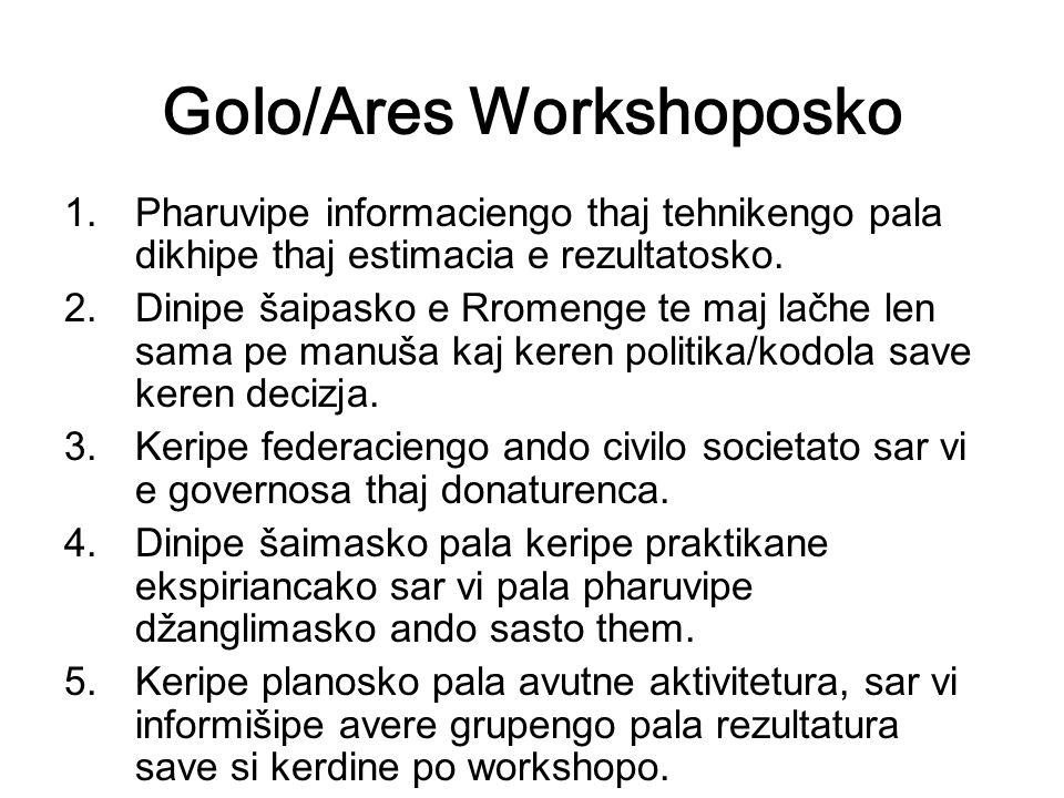 Golo/Ares Workshoposko 1.Pharuvipe informaciengo thaj tehnikengo pala dikhipe thaj estimacia e rezultatosko.