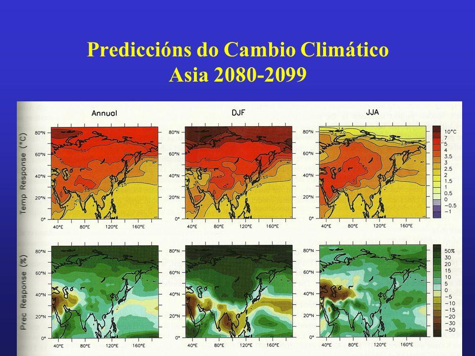 Prediccións do Cambio Climático Asia 2080-2099