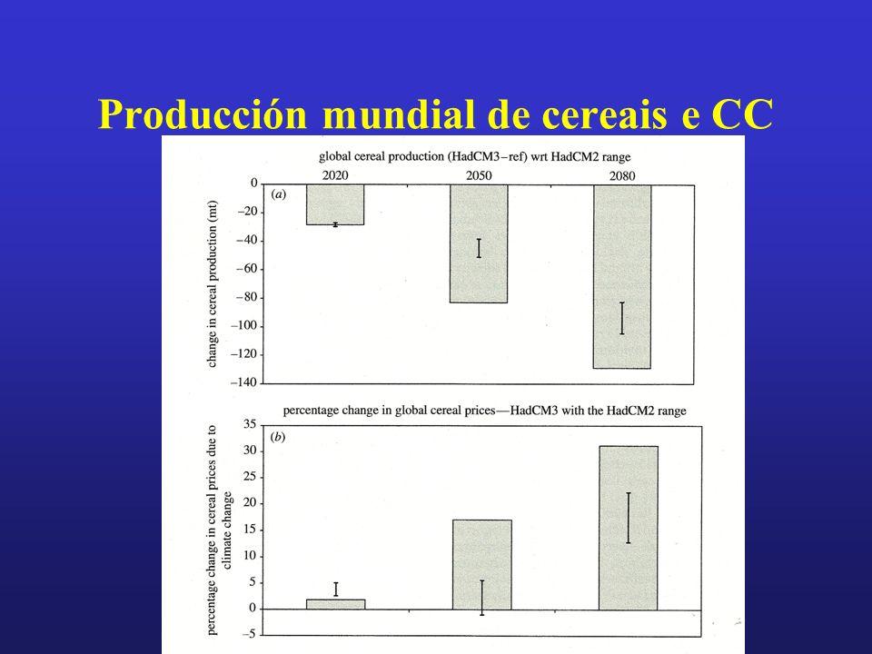 Producción mundial de cereais e CC