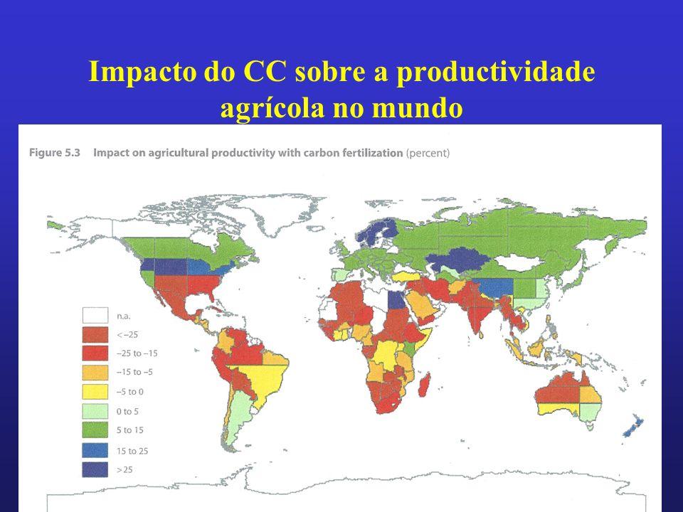 Impacto do CC sobre a productividade agrícola no mundo