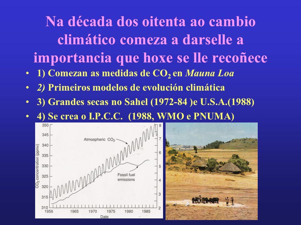 Na década dos oitenta ao cambio climático comeza a darselle a importancia que hoxe se lle recoñece 1) Comezan as medidas de CO 2 en Mauna Loa 2) Primeiros modelos de evolución climática 3) Grandes secas no Sahel (1972-84 )e U.S.A.(1988) 4) Se crea o I.P.C.C.