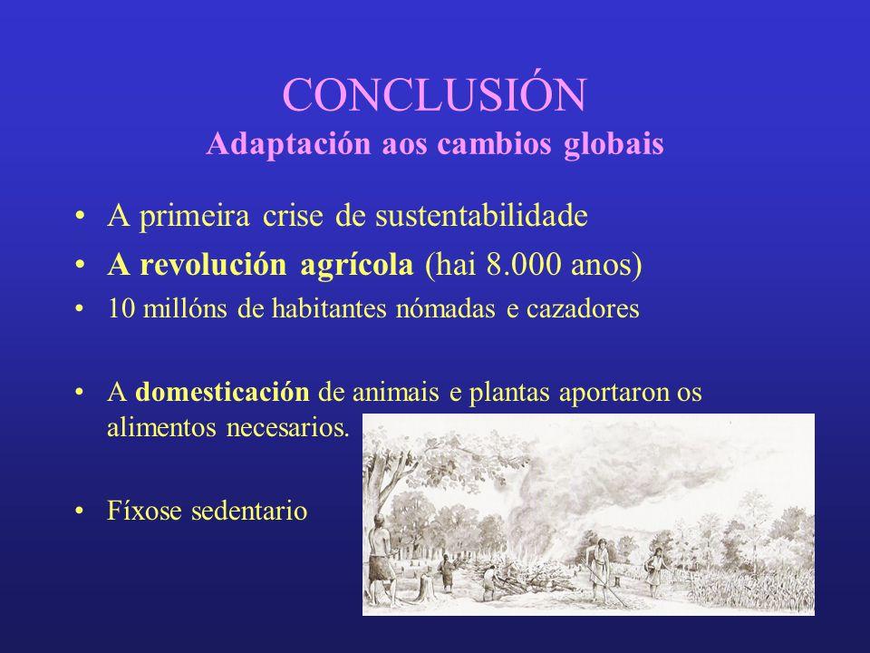 CONCLUSIÓN Adaptación aos cambios globais A primeira crise de sustentabilidade A revolución agrícola (hai 8.000 anos) 10 millóns de habitantes nómadas e cazadores A domesticación de animais e plantas aportaron os alimentos necesarios.