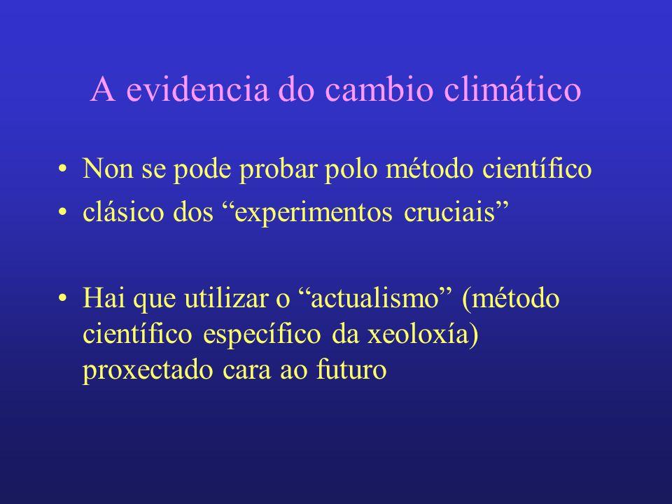 A evidencia do cambio climático Non se pode probar polo método científico clásico dos experimentos cruciais Hai que utilizar o actualismo (método científico específico da xeoloxía) proxectado cara ao futuro