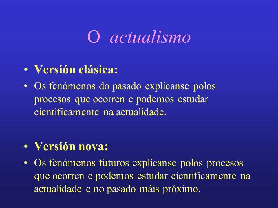 O actualismo Versión clásica: Os fenómenos do pasado explícanse polos procesos que ocorren e podemos estudar cientificamente na actualidade.