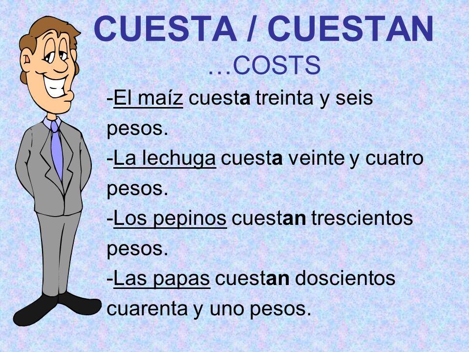 CUESTA / CUESTAN …COSTS -El maíz cuesta treinta y seis pesos. -La lechuga cuesta veinte y cuatro pesos. -Los pepinos cuestan trescientos pesos. -Las p