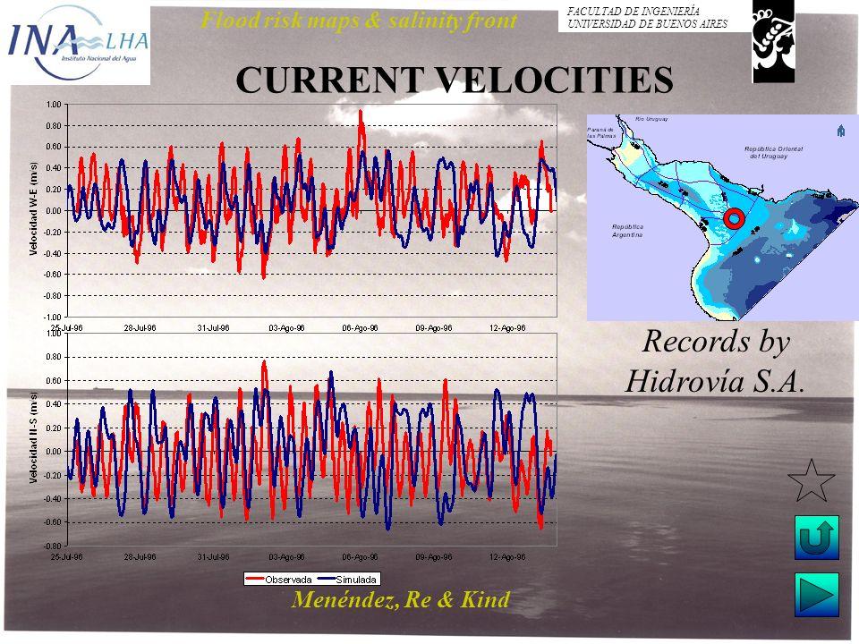 Menéndez, Re & Kind Flood risk maps & salinity front FACULTAD DE INGENIERÍA UNIVERSIDAD DE BUENOS AIRES CURRENT VELOCITIES Records by Hidrovía S.A.