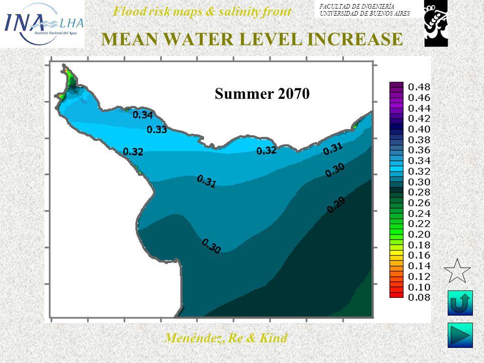 Menéndez, Re & Kind Flood risk maps & salinity front FACULTAD DE INGENIERÍA UNIVERSIDAD DE BUENOS AIRES MEAN WATER LEVEL INCREASE Summer 2070