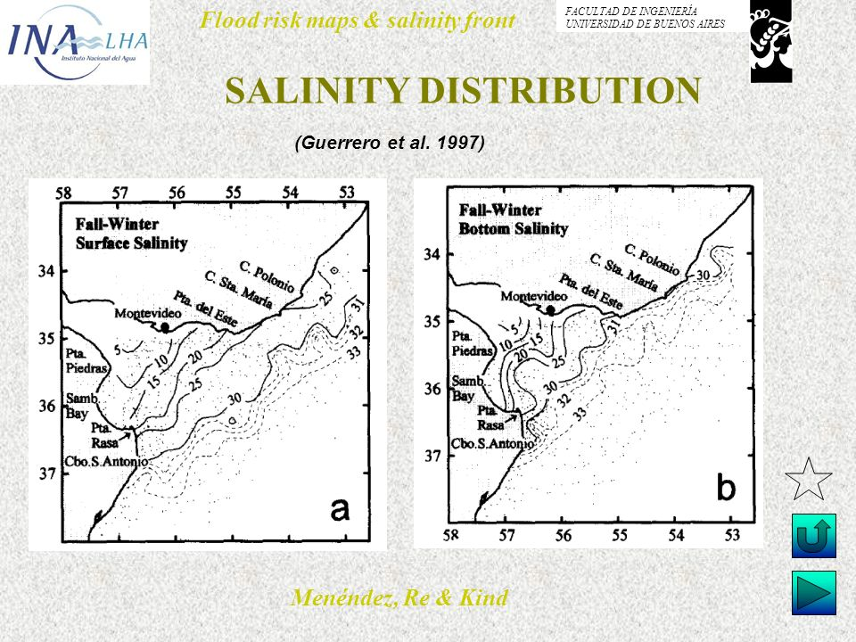 Menéndez, Re & Kind Flood risk maps & salinity front FACULTAD DE INGENIERÍA UNIVERSIDAD DE BUENOS AIRES SALINITY DISTRIBUTION (Guerrero et al. 1997)