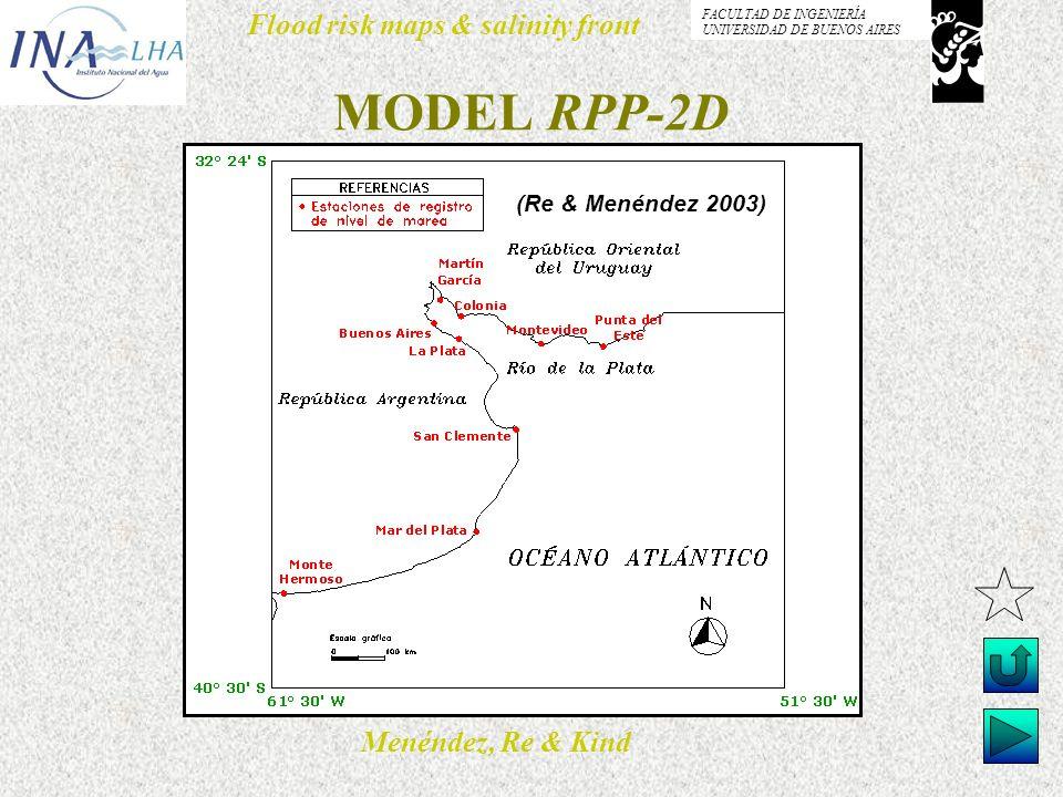 Menéndez, Re & Kind Flood risk maps & salinity front FACULTAD DE INGENIERÍA UNIVERSIDAD DE BUENOS AIRES MODEL RPP-2D (Re & Menéndez 2003)