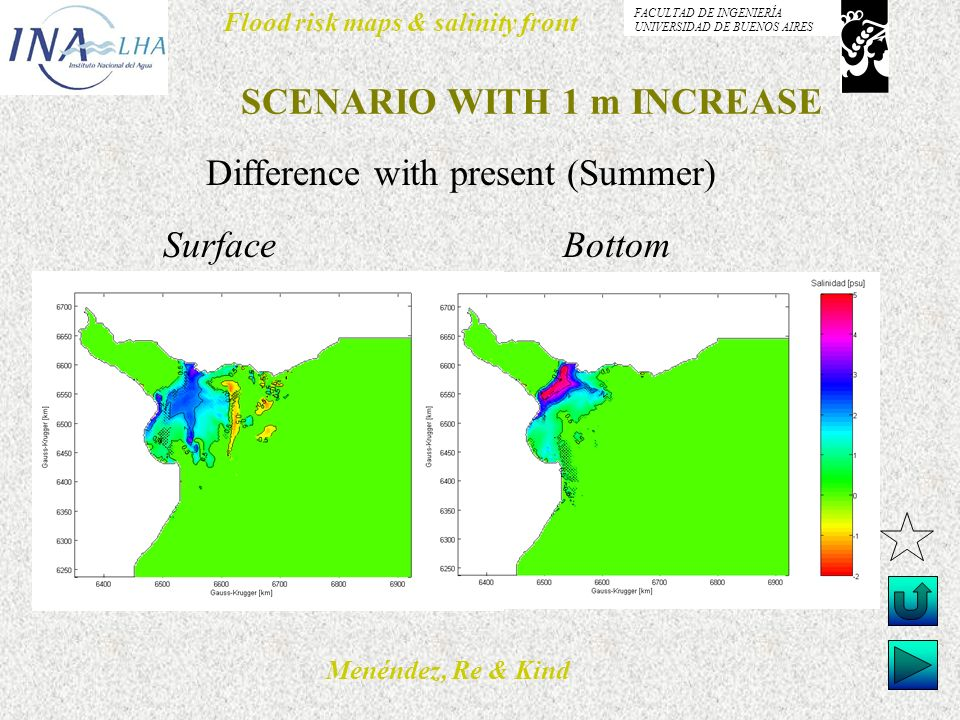 Menéndez, Re & Kind Flood risk maps & salinity front FACULTAD DE INGENIERÍA UNIVERSIDAD DE BUENOS AIRES SCENARIO WITH 1 m INCREASE Difference with present (Summer) Surface Bottom