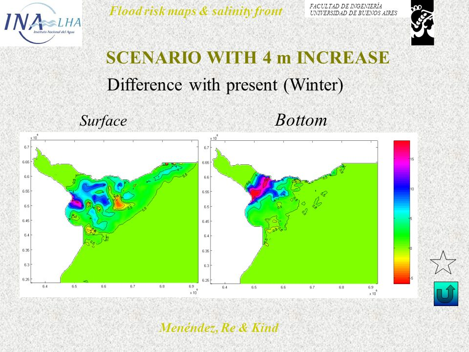 Menéndez, Re & Kind Flood risk maps & salinity front FACULTAD DE INGENIERÍA UNIVERSIDAD DE BUENOS AIRES SCENARIO WITH 4 m INCREASE Difference with pre