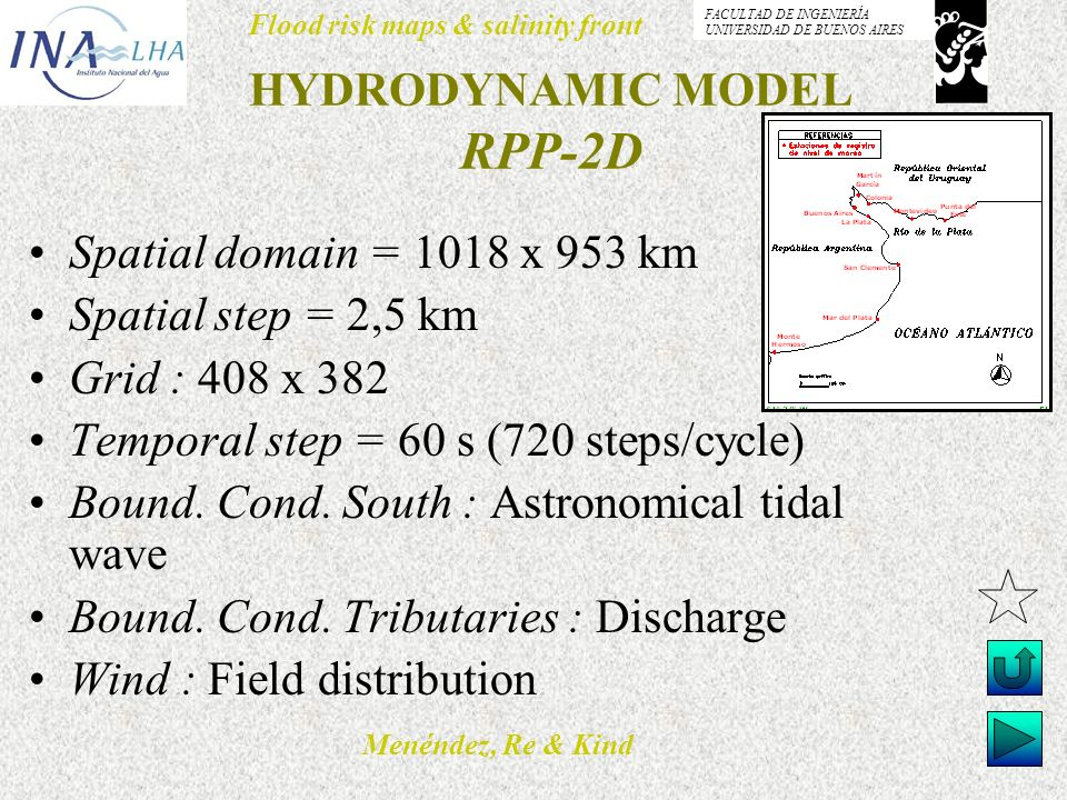 Menéndez, Re & Kind Flood risk maps & salinity front FACULTAD DE INGENIERÍA UNIVERSIDAD DE BUENOS AIRES HYDRODYNAMIC MODEL RPP-2D Spatial domain = 101