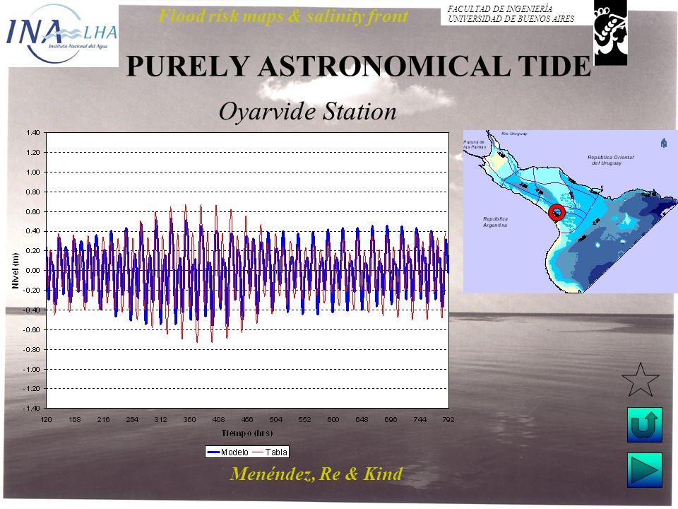 Menéndez, Re & Kind Flood risk maps & salinity front FACULTAD DE INGENIERÍA UNIVERSIDAD DE BUENOS AIRES PURELY ASTRONOMICAL TIDE Oyarvide Station