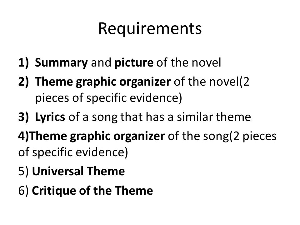 Requirements 1)Summary and picture of the novel 2)Theme graphic organizer of the novel(2 pieces of specific evidence) 3)Lyrics of a song that has a similar theme 4)Theme graphic organizer of the song(2 pieces of specific evidence) 5) Universal Theme 6) Critique of the Theme