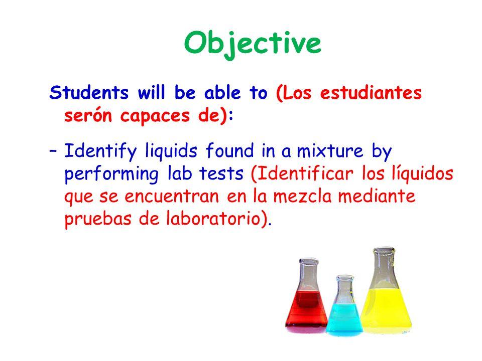 Objective Students will be able to (Los estudiantes serón capaces de): –Identify liquids found in a mixture by performing lab tests (Identificar los líquidos que se encuentran en la mezcla mediante pruebas de laboratorio).