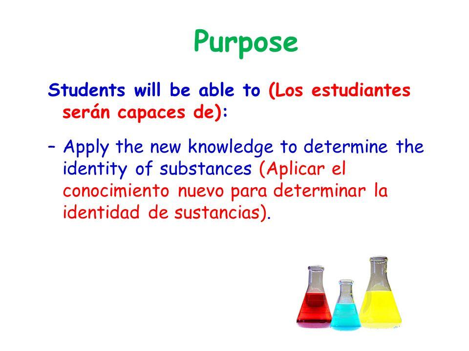 Purpose Students will be able to (Los estudiantes serán capaces de): –Apply the new knowledge to determine the identity of substances (Aplicar el conocimiento nuevo para determinar la identidad de sustancias).