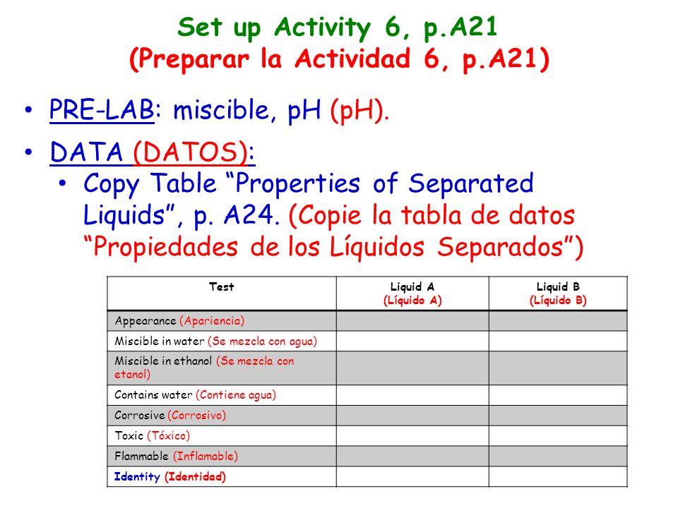 Set up Activity 6, p.A21 (Preparar la Actividad 6, p.A21) PRE-LAB: miscible, pH (pH).