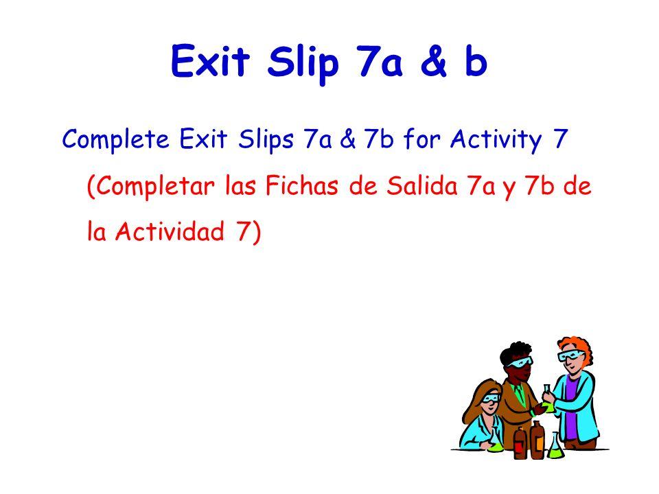 Exit Slip 7a & b Complete Exit Slips 7a & 7b for Activity 7 (Completar las Fichas de Salida 7a y 7b de la Actividad 7)