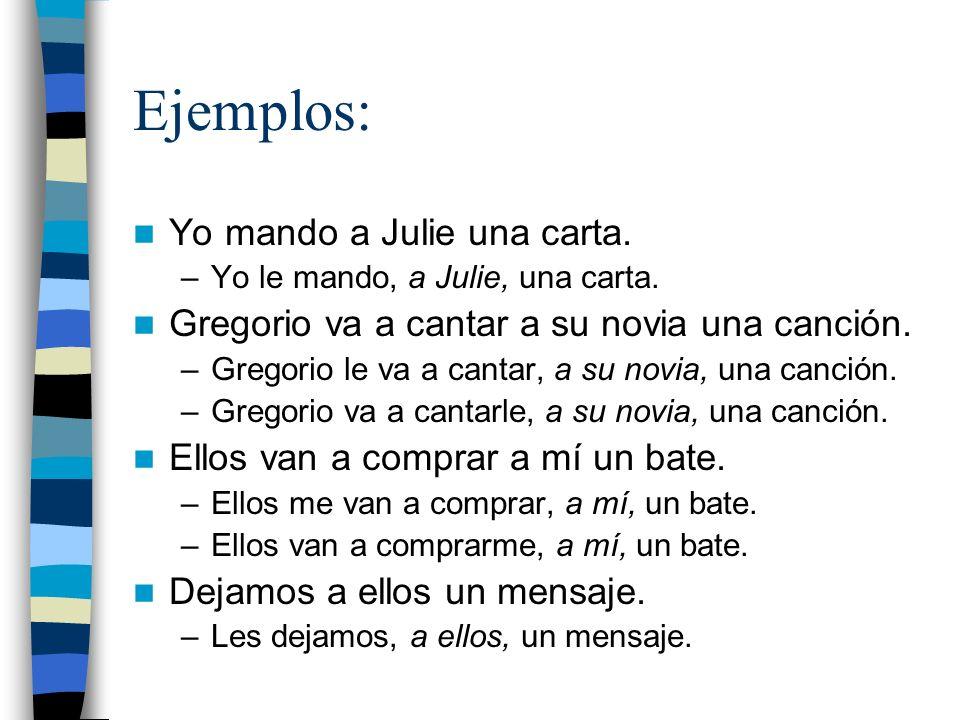 Ejemplos: Yo mando a Julie una carta. –Yo le mando, a Julie, una carta.